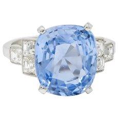 1950's Mid-Century 11.15 CTW No Heat Ceylon Sapphire Diamond Platinum Statement Ring GIA
