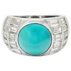 Vintage Turquoise Cabochon 2.50 CTW Diamond Platinum Band Ring