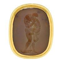 Neoclassical Agate Intaglio 18 Karat Gold Hercules Nemean Lion Signet Ring