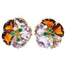 Boucheron Paris Diamond Emerald Citrine Amethyst 18 Karat Gold Flower Ear-Clip Earrings