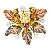 Art Nouveau Yellow Sapphire Pearl Ruby 14 Karat Gold Fairy Pendant Brooch