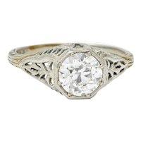Late Edwardian 1.02 CTW Diamond 18 Karat White Gold Foliate Engagement Ring GIA