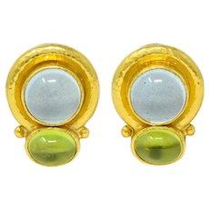 Elizabeth Locke Labradorite Peridot 18 Karat Gold Hammered Earrings
