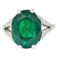 Art Deco 7.45 CTW Colombian Emerald Diamond Platinum Ring GIA