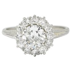 Early Art Deco 1.50 CTW Diamond Platinum Cluster Engagement Ring GIA
