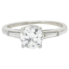 1950's Mid-Century 1.54 CTW Diamond Platinum Three Stone Engagement Ring GIA