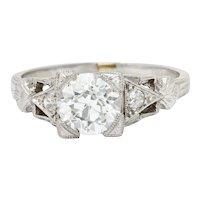 Art Deco 1.12 CTW Diamond Platinum Geometric Foliate Engagement Ring GIA
