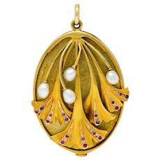Large Art Nouveau Pearl Ruby Diamond 18 Karat Two-Tone Ginkgo Mirror Locket Pendant