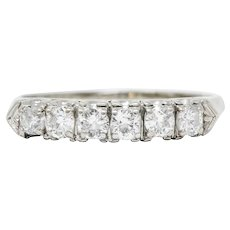 Retro 0.50 CTW Diamond 14 Karat White Gold Fishtail Band Ring