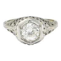 Art Deco 1.12 CTW Diamond 18 Karat White Gold Trellis Engagement Ring GIA