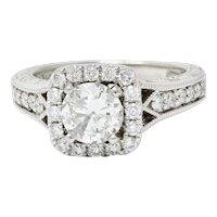 Contemporary 1.57 CTW Diamond 14 Karat White Gold Square Halo Engagement Ring GIA
