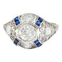 Art Deco 1.85 CTW Diamond Sapphire Platinum Hexagonal Filigree Engagement Ring