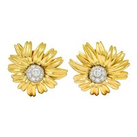 Cartier Paris Pave Diamond 18 Karat Gold Retro Flower Earrings