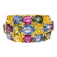 1990's Vintage 6.90 CTW Sapphire Ruby 18 Karat Gold Gemstone Band Ring