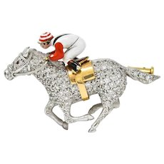 1897 E. Wolfe & Co. Enamel Pave Diamond 18 Karat White Gold Horse & Jockey Brooch