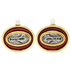 Elizabeth Gage Enamel Pearl 18 Karat Gold Silver Insect Intaglio Ear-Clip Earrings