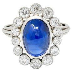 Art Deco 8.50 CTW No Heat Ceylon Sapphire Diamond Platinum Cluster Ring AGL