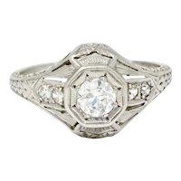 1920's Art Deco 0.40 CTW Diamond Platinum Octagonal Starburst Engagement Ring