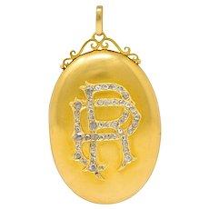 1880's Victorian Rose Cut Diamond 18 Karat Gold Monogram Locket Pendant