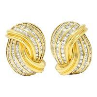 David Webb 9.50 CTW Diamond 18 Karat Gold Knot Ear-Clip Earrings