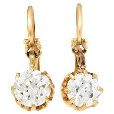 Victorian 1.25 CTW Diamond 14 Karat Gold Drop Earrings