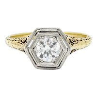 W.W. Fulmer & Co. 0.70 CTW Diamond Platinum-Topped 14 Karat Gold Engagement Ring