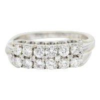 1929 Art Deco 1.00 CTW Diamond 14 Karat White Gold Double Row Band Ring