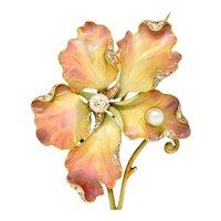 Art Nouveau Diamond Pearl Enamel 18 Karat Gold Flower Brooch