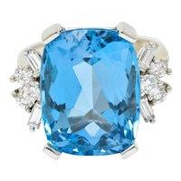 1960's Vintage Blue Topaz Diamond 14 Karat White Gold Cocktail Ring