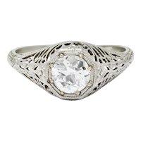 Fulmer & Co. 0.90 CTW Diamond 19 Karat White Gold Engagement Ring GIA