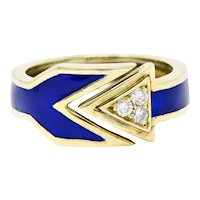 Retro Diamond Enamel 14 Karat Gold Arrow Band Ring