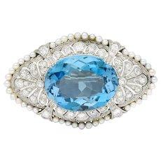 Swiss Edwardian 15.55 CTW Aquamarine Diamond Pearl Platinum Brooch