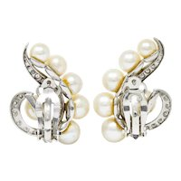 1950's Mid-Century Cultured Pearl Diamond 14 Karat White Gold Ear-Clip Earrings