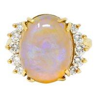 1970's Vintage Jelly Opal Diamond 18 Karat Gold Gemstone Ring