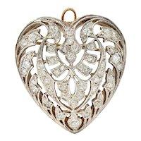 Edwardian Diamond Platinum-Topped 14 Karat Gold Heart Pendant Brooch