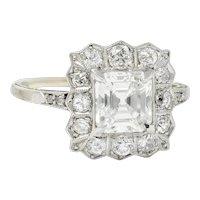 Edwardian 2.07 CTW Asscher Diamond Platinum-Topped 14 Karat Gold Cluster Ring GIA
