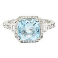 Square 3.50 CTW Aquamarine Diamond 14 Karat White Gold Gemstone Ring