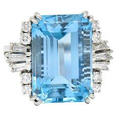 Felger Inc. Mid-Century 17.50 CTW Aquamarine Diamond Platinum Statement Ring Circa 1950