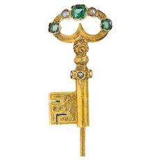 1880's Victorian Emerald Pearl 18 Karat Gold Key Stickpin