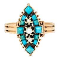 1870's Etruscan Revival Turquoise Pearl 14 Karat Rose Gold Navette Ring