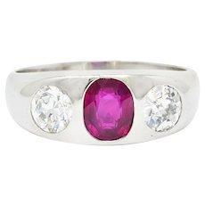 Retro 3.39 CTW No Heat Burma Ruby Diamond Platinum Unisex Gypsy Band Ring AGL