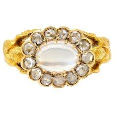 Art Nouveau Moonstone Diamond 18 Karat Gold Nike Victory Ring