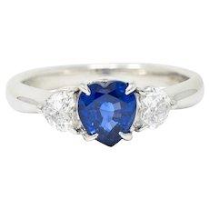 Contemporary 1.48 CTW Heart Sapphire Diamond Platinum Three Stone Ring