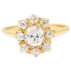 Victorian 1.60 CTW Old Mine Diamond 14 Karat Gold Cluster Ring