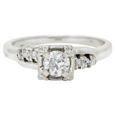 Retro 0.40 CTW Diamond 14 Karat White Gold Engagement Ring