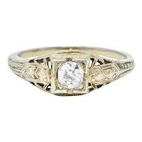 Art Deco 0.23 CTW Diamond 18 Karat White Gold  Engagement Ring