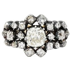 Victorian 2.45 CTW Old Mine Diamond Silver-Topped 18 Karat Gold Cluster Ring