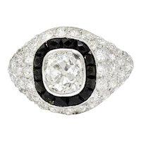Art Deco Onyx Halo 2.50 CTW Diamond Platinum Bombe Band Ring