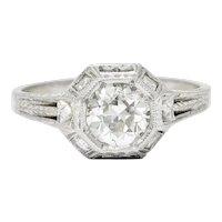 Art Deco 1.05 CTW Diamond 18 Karat White Gold Foliate Engagement Ring