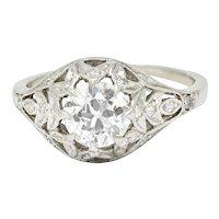 Art Deco 1.39 CTW Diamond Platinum Foliate Engagement Ring